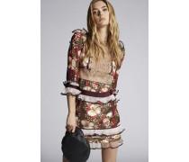 Printed Ibisco Silk Twill Bohemian Long Sleeves Dress