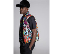 Graffiti Printed Nylon Vest