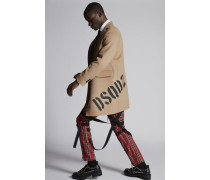 Camel Wool Coat With Dsquared2 Logo On The Back