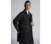 Double Breasted Military Coat In Cotton With Shiny Military Logo Print