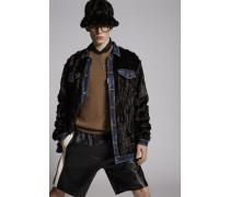 Faux Fur Denim Jacket With Denim Details