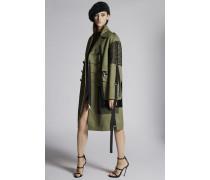 Cotton Twill Military Lace Maxi Coat