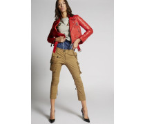 Cotton Multipockets Sexy Cropped Flare Pants