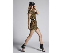 Printed Leopard Silk Twill Printed Shift Dress