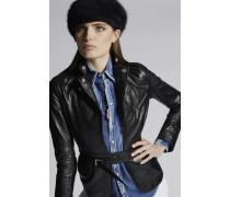 Calf Leather Stephaine Kiodo And Zips Wrap Blazer