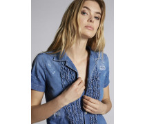 Ruffled Denim Hemd
