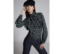Cotton Check Margot Long Sleeved Top