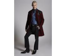 Check Wool Coat With Sequin Yoke