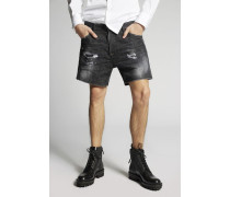 Black Buchi Squared Crotch Denim Shorts