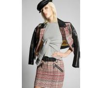 Jacquard-Leather Sleeves Jacket