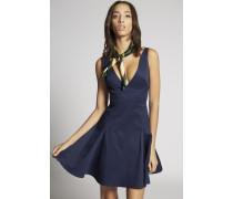 Stretch Cotton V-Neck Pleated Dress