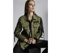 Cotton Twill Military Lace Baggy Jacket
