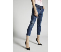 Medium White Spray Cool Girl Cropped Jeans