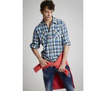 Indigo Cotton Check Western Hemd