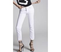 Garment Dyed Medium Waist Cropped Twiggy Jeans