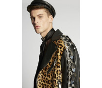 Leopard Leather Buckle Jacket