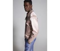 Studded Wool Silk Bomber Jacket
