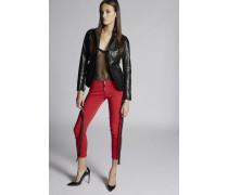 Stretch Bull Garment Dyed Medium Waist Cropped Twiggy Jeans