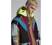 Mini-Check Hooded Parka With Neon Details