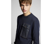 Denim Pocket Wool Pullover