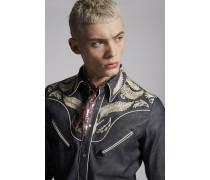 Embroidered-Yoke Welt Pocket Denim Western Hemd