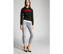 Grey Broken Super Skinny Cropped Jeans