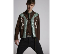 Stretch Wool Sequins Bomber Jacket
