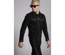 Dark Worked Vertical Slash Rhinestone Denim Jacket