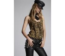 Printed Leopard Silk Twill Tank Top