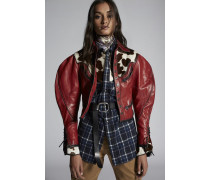 Trimmed-Yoke Johdpur Leather Jacket