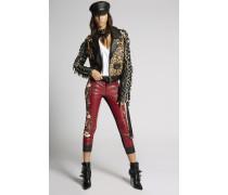 Hibiscus Biker Leather Pants