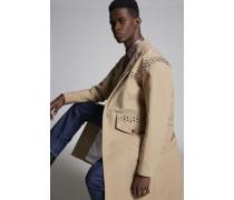 Wool Coat With Studded Yoke