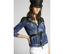 Contrasted Leather Denim Biker Jacket
