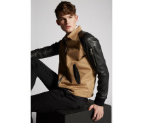 Cotton Twill-Leather Sleeves Boxy Bomber Jacket