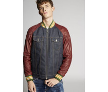 Denim-Leather Sleeves Jacket