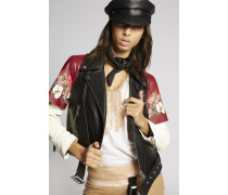 Hibiscus Leather Biker Vest