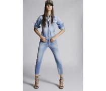 Light Medium Waist Cropped Twiggy Jeans