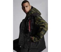Mixed Nylon And Camouflage Hooded Parka With Buckled Pockets