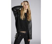 Leather Sleeves Sweatshirt