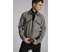 Houndstooth Wool Military Hemd
