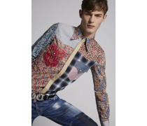 Floral-Patchwork Cotton Western Hemd