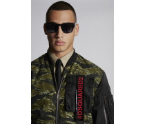 Mixed Nylon And Camouflage Skinhead Bomber With Punk Logo Tape Pocket Detail