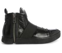Schwarze Sneaker mit elastischem Oberteil und Reißverschluss All Over Nentish Strap
