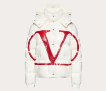Valentino Wattierte Jacke Moncler Vlogo aus Nylon Laqué