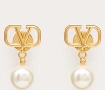 Valentino Garavani Ohrringe Vlogo mit Perlen
