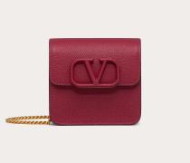 Valentino Garavani Kompaktes Portemonnaie Vsling aus gekörntem Kalbsleder mit Kettenriemen