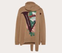 Valentino Uomo Pullover mit Schal und V Face Rose Stickerei XS