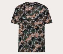 Valentino Uomo Camouflage-t-shirt mit Vltn Grid-print S