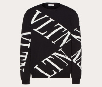 Valentino Uomo Rundhalspullover mit Vltn Macrogrid-print L