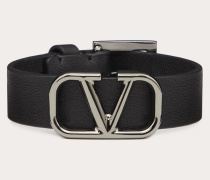 Valentino Garavani Uomo Armband Vlogo aus Leder